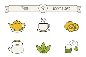 Tea. 9 color icons. Vector