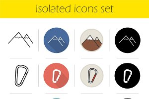 Hiking. 12 icons. Vector