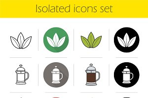 Tea. 12 icons. Vector