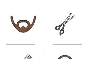 Barber shop. 4 color icons. Vector