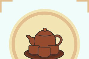 Tea set color icon. Vector