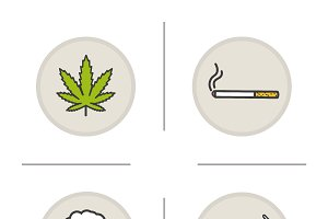 Bad habits. 4 color icons. Vector