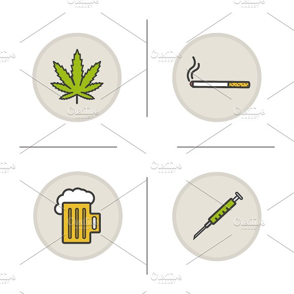 Bad habits. 4 color icons. Vector - Icons