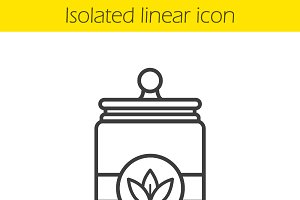 Tea jar linear icon. Vector