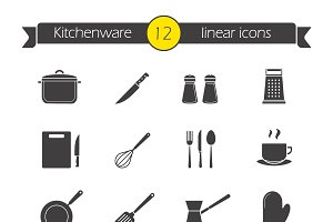 Kitchenware. 12 icons. Vector