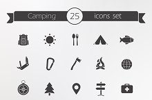 Tourism and travel. 25 icons. Vector