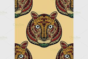 Colored Seamless Tiger pattern.
