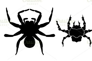black silhouette spider icon