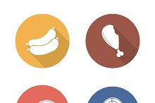 Barbecue meat. 4 icons. Vector