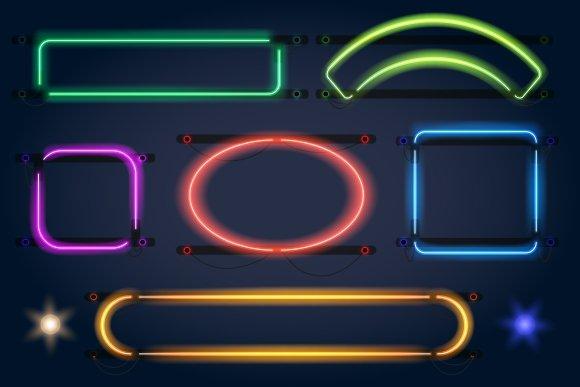 Neon light frames ~ Graphics ~ Creative Market
