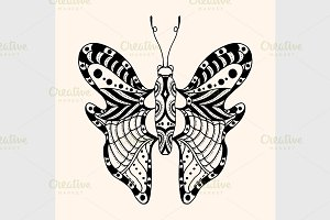 Hand drawn ornamental butterfly