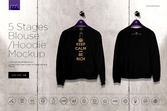 Download Hoodie / Blouse On 5 Stages Mock-up