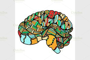 Colored Sketchy Human Brain