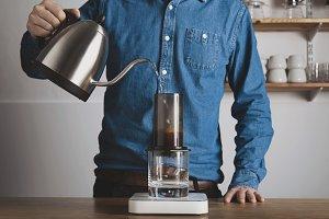 Alternative coffee brewing in cafe