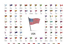 Set of world flags on a poles