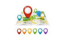 Maps and Pin Navigation. Vector