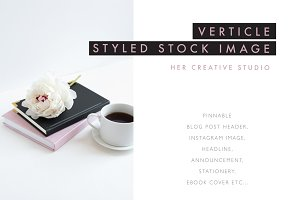 Coffee & Peony Styled Stock Image