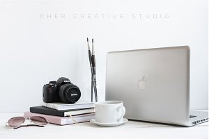 Laptop & Coffee Styled Stock Image