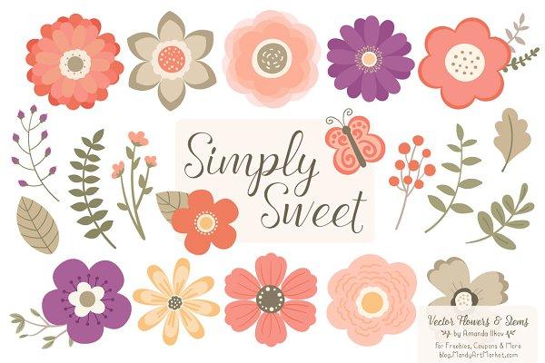Antique Peach Flowers Clipart