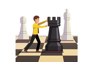 Man making his move on a chessboard