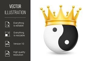 Golden crown on yin-yang