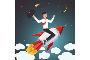 Successful businessman on a rocket