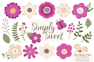 Flower Clipart in Fuchsia