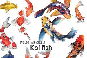 Koi fish watercolor clipart
