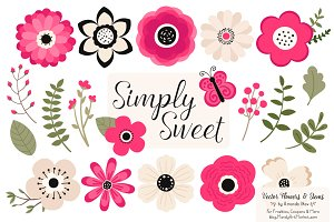 Hot Pink Flowers Clipart