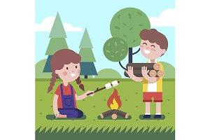 Boy  and girl near the bonfire