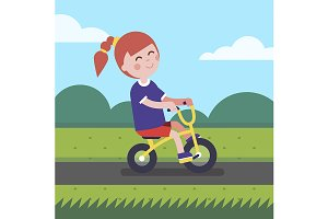 girl kid riding bicycle