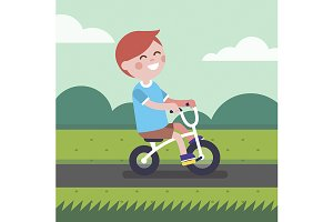 Little boy kid riding bicycle