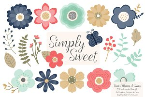 Modern Chic Flowers Clipart