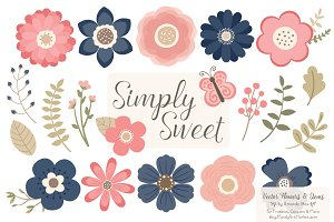 Navy & Blush Flowers Clipart