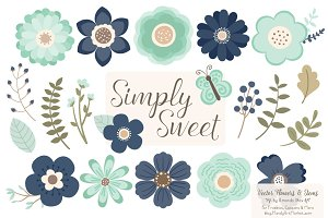 Navy & Mint Flowers Clipart