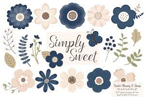 Navy Flowers Clipart & Vectors