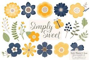 Navy & Lemon Flowers Clipart