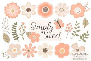 Peach Floral Clipart