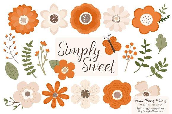 Flower Clipart In Pumpkin Orange Illustrations Creative Market