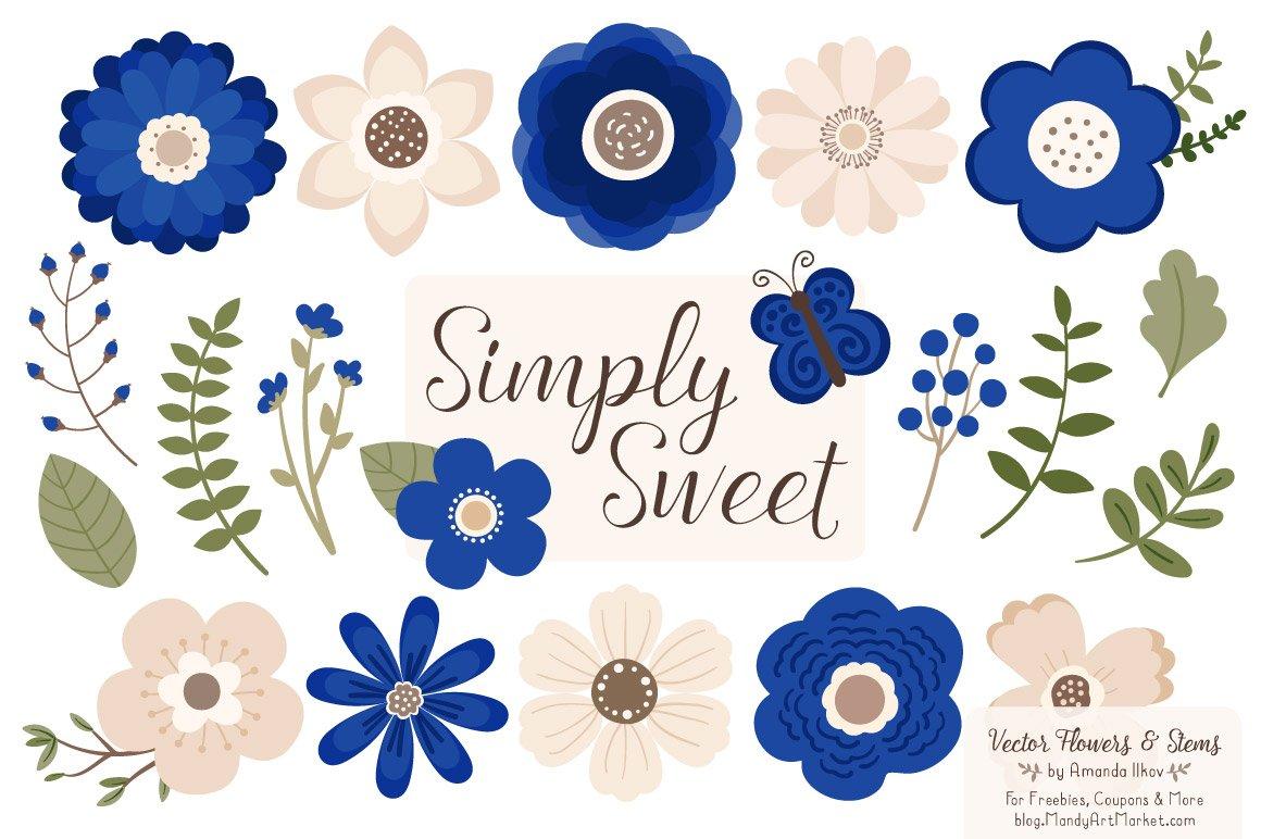 Royal Blue Flowers Clipart Illustrations Creative Market