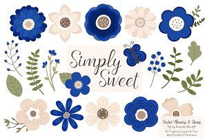 Royal Blue Flowers Clipart