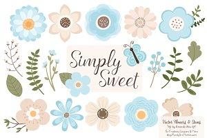 Soft Blue Flowers Clipart