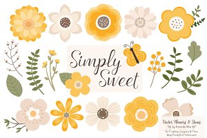 Flower Clipart in Sunshine Yellow