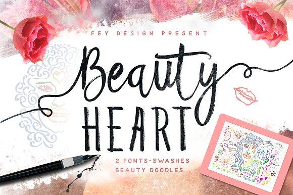 Beauty Heart Script Fonts Creative Market