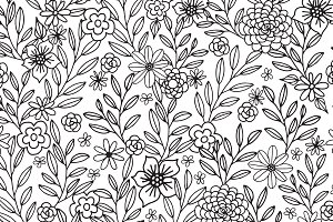 Floral Doodles Seamless Pattern