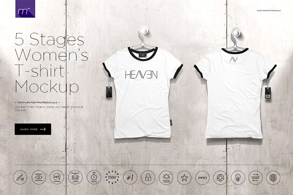 Women's T-shirt On 5 Stages Mock-up