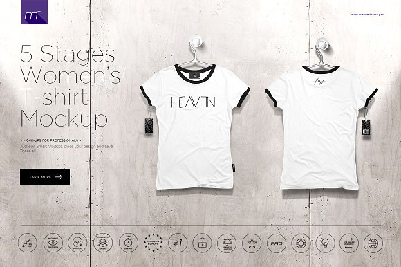 Download Women's T-shirt On 5 Stages Mock-up