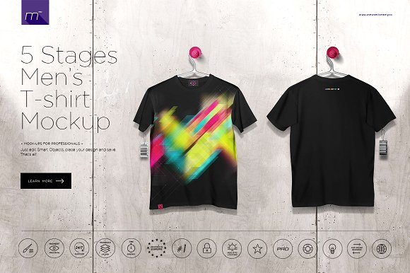 Free Men's T-shirt On 5 Stages Mock-up