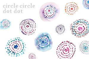 Watercolor Circles and Dots Clip Art