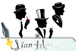 Men silhouettes smoking cigar and pi